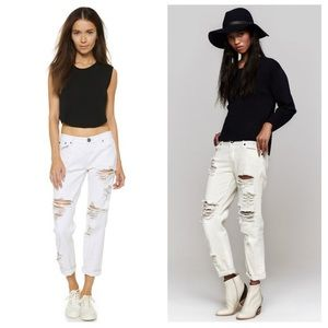 Aritzia One Teaspoon Awesome Baggies White Jeans
